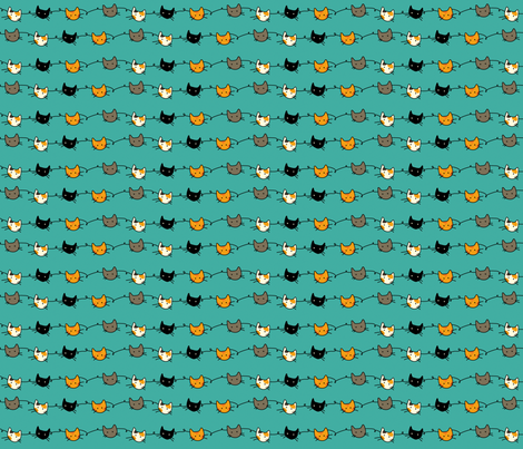 Kitty Connections - Aqua fabric by graycatbird on Spoonflower - custom fabric