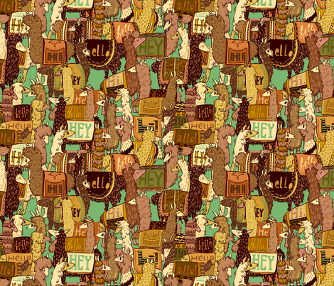 Hello Llama fabric by disappearingact on Spoonflower - custom fabric