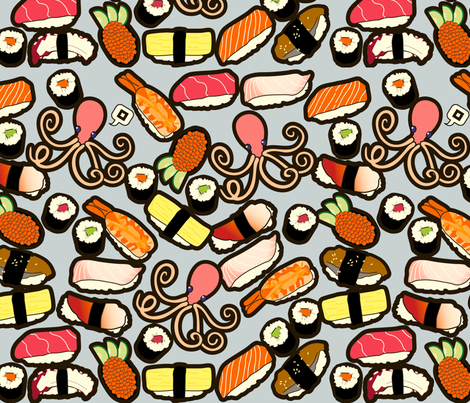 Sushi More fabric by thickblackoutline on Spoonflower - custom fabric