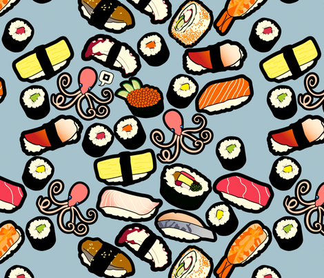 Sushi Less fabric by thickblackoutline on Spoonflower - custom fabric