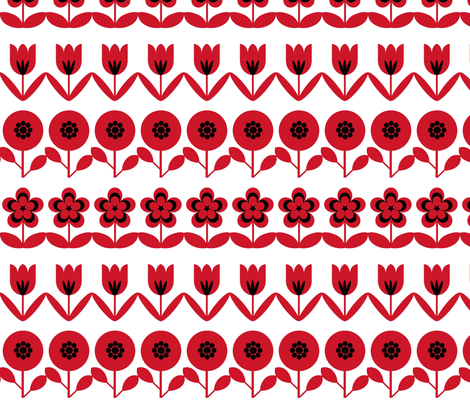 retro flowers fabric by troismiettes on Spoonflower - custom fabric