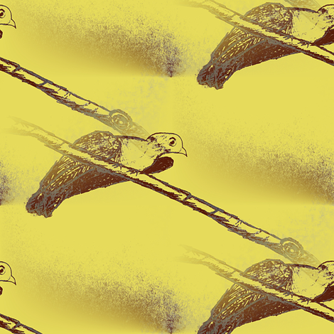 Bird on a Wire, yellow fabric by nalo_hopkinson on Spoonflower - custom fabric