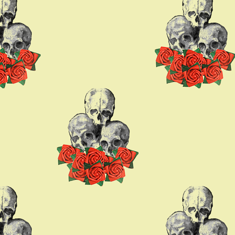 Skulls and Roses fabric by nalo_hopkinson on Spoonflower - custom fabric