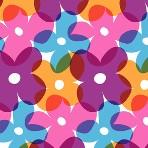 Large Retro Flowers
