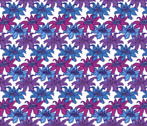 Floral - Raspberry and Blues fabric by aydeeyai on Spoonflower - custom fabric