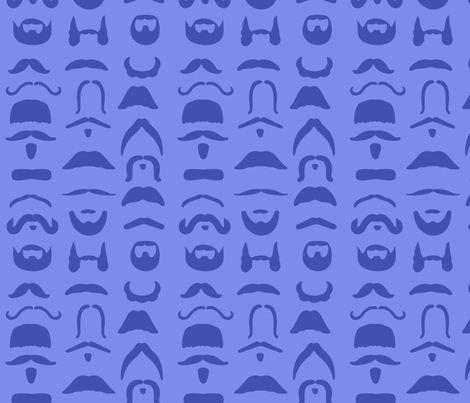 LesMoustaches_bleu_ fabric by sewbettie on Spoonflower - custom fabric