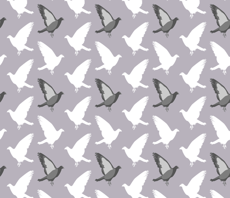 Flock of Pigeons fabric by someday on Spoonflower - custom fabric