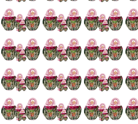 Babushka Nesting Dolls Roses fabric by karenharveycox on Spoonflower - custom fabric
