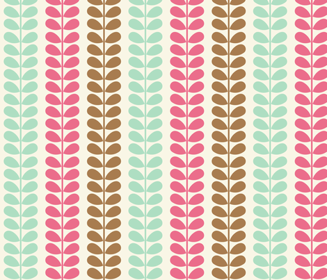 Vines Pink Blue Brown fabric by midcenturymaude on Spoonflower - custom fabric