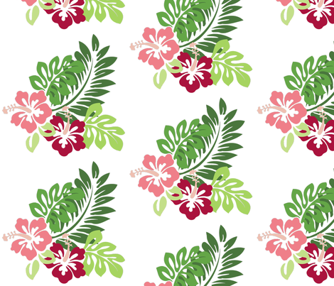 Hibiscus (White Background) fabric by studiofibonacci on Spoonflower - custom fabric