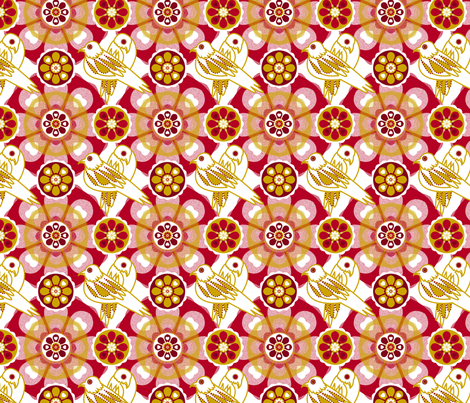 Friendship Birds - Red Gold fabric by royalforest on Spoonflower - custom fabric