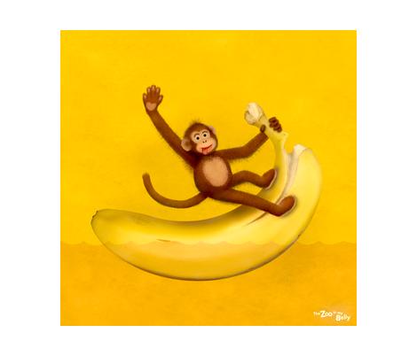 "Zoo in My Belly Monkey 15"" fabric by zookeeper on Spoonflower - custom fabric"