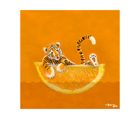 """Zoo in My Belly Tiger 15"""" fabric by zookeeper on Spoonflower - custom fabric"""