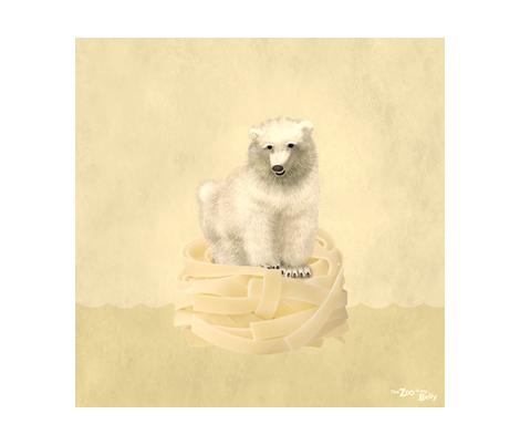 "Zoo in My Belly Polar Bear 15"" fabric by zookeeper on Spoonflower - custom fabric"