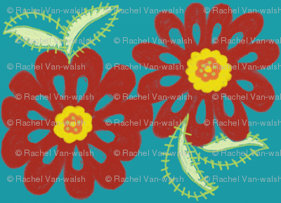 bloom_in_red_-blue_bg_for_spoonflower