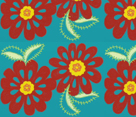 bloom_in_red_-blue_bg_for_spoonflower fabric by balanced on Spoonflower - custom fabric