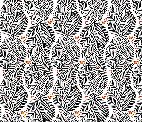 arborvitae - white fabric by monmeehan on Spoonflower - custom fabric
