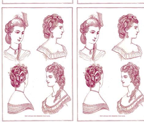 Vintage_hairstyles_purple fabric by nalo_hopkinson on Spoonflower - custom fabric