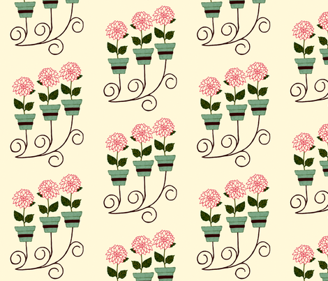 Dahlia Wall Planter fabric by cksstudio80 on Spoonflower - custom fabric