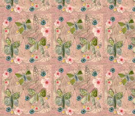 Butterfly on Pink Garden fabric by katherinedunn on Spoonflower - custom fabric