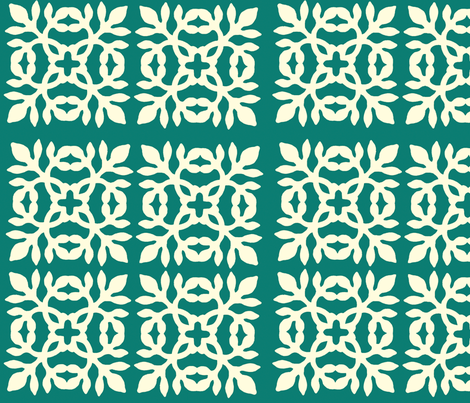 Papercut Fabric teal-green fabric by mina on Spoonflower - custom fabric