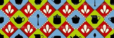 Folksy Teaparty (Blue, Green & Orange)