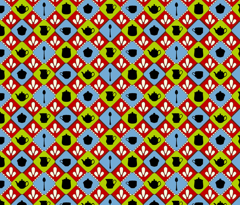 Folksy Teaparty (Blue, Green & Orange) fabric by jmaranez on Spoonflower - custom fabric