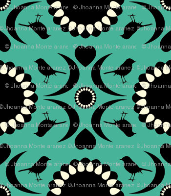Folksy Robin (Teal and Black)