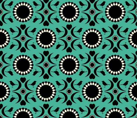 Folksy Robin (Teal and Black) fabric by jmaranez on Spoonflower - custom fabric