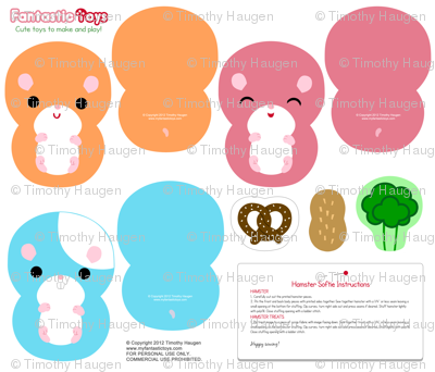 Hamster Softies Cut and Sew Pattern
