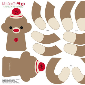 Sock Monkey Cut and Sewing Pattern