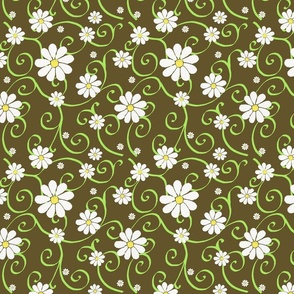 daisies and scrolls on brown