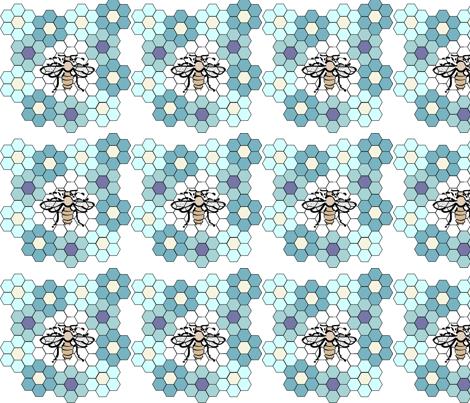 honeybee_flower1b_aqua_copy fabric by mina on Spoonflower - custom fabric