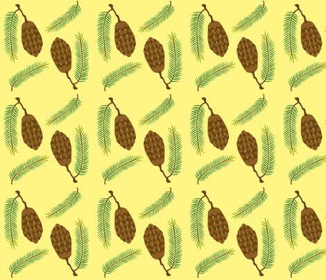 Douglas Fir -- Pale Sunset fabric by nightgarden on Spoonflower - custom fabric