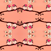 Melon Pink and Chocolate Chickadees