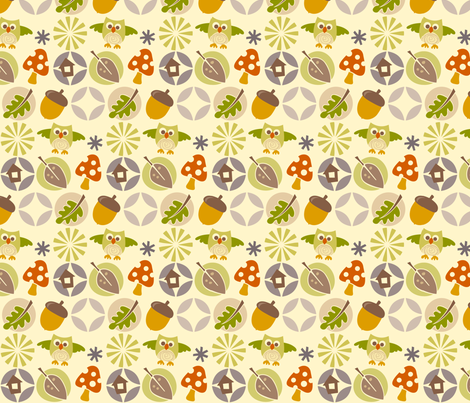 owl autumn pattern fabric by utehil on Spoonflower - custom fabric