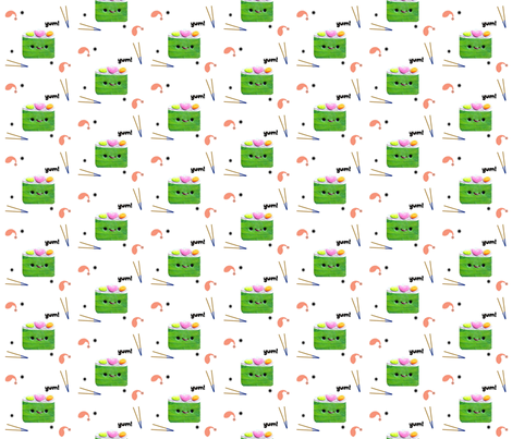 Sushi time fabric by itybitybags on Spoonflower - custom fabric