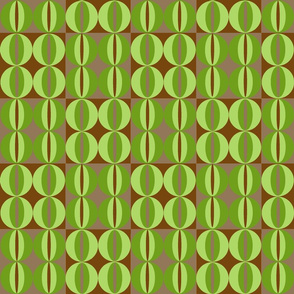 Circles and ovals -Green/Brown