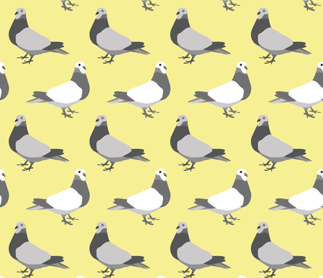 A Parade of Pigeons, Yellow fabric by someday on Spoonflower - custom fabric