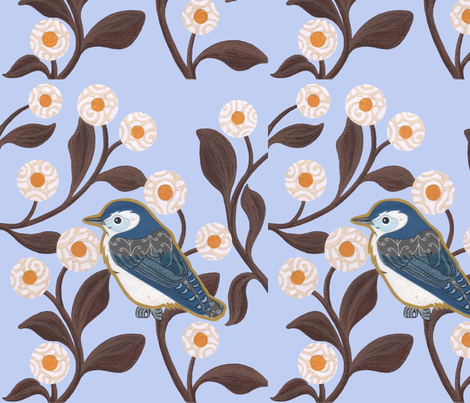 wistful_nuthatch fabric by birdnerd on Spoonflower - custom fabric