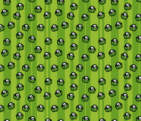 skull-candy-pieces_green fabric by ophelia on Spoonflower - custom fabric