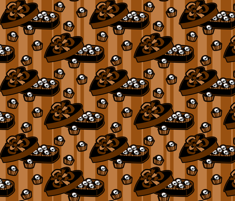skull-candy-box_brown fabric by ophelia on Spoonflower - custom fabric