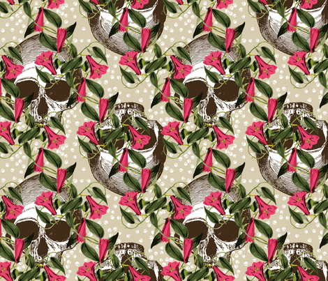 Skulls In The Garden (light) fabric by ophelia on Spoonflower - custom fabric
