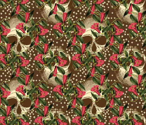 skulls-in-the-garden_brown fabric by ophelia on Spoonflower - custom fabric