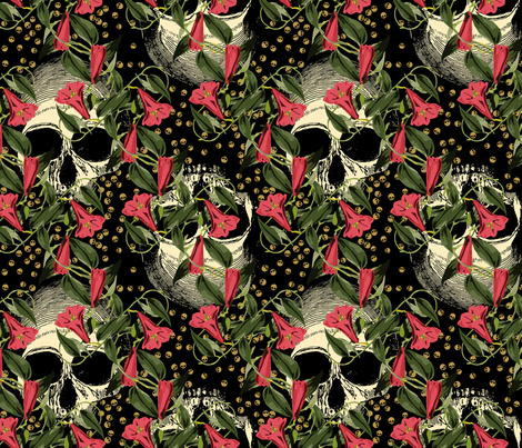 skulls-in-the-garden_black-pink fabric by ophelia on Spoonflower - custom fabric