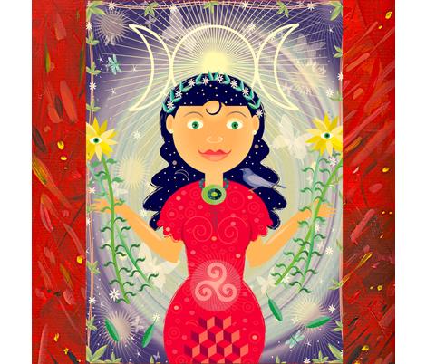 Red_goddess fabric by margart on Spoonflower - custom fabric