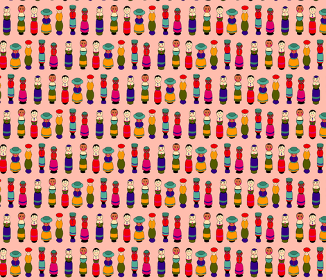 dolls_pink fabric by lfntextiles on Spoonflower - custom fabric