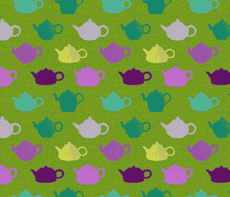 color_teapots_green_lav fabric by lfntextiles on Spoonflower - custom fabric
