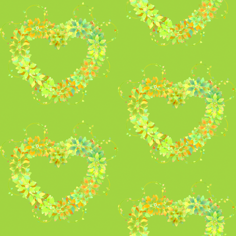 Floral_Hearts_Green fabric by patsijean on Spoonflower - custom fabric