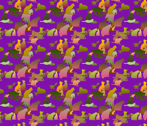 Purple_Kitties fabric by patsijean on Spoonflower - custom fabric